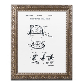Claire Doherty 'Firefighter Headgear 1926 White' Ornate Framed Art
