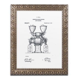 Claire Doherty 'Coffee Grinder Patent 1911 White' Ornate Framed Art