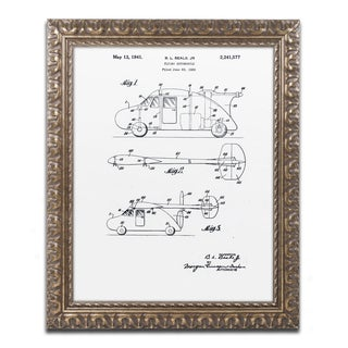 Claire Doherty 'Flying Car Patent 1941 White' Ornate Framed Art