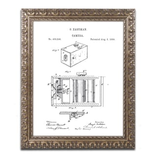 Claire Doherty 'George Eastman Camera Patent White' Ornate Framed Art