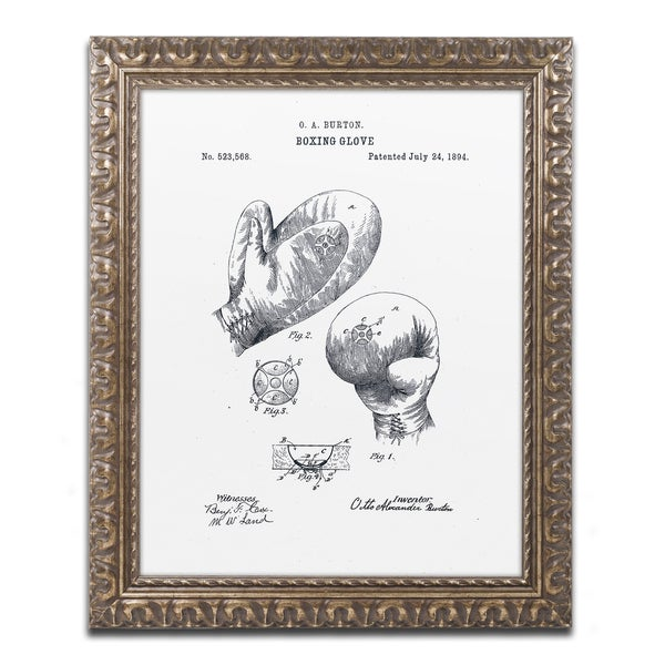 Claire Doherty 'Boxing Gloves Patent 1894 White' Ornate Framed Art