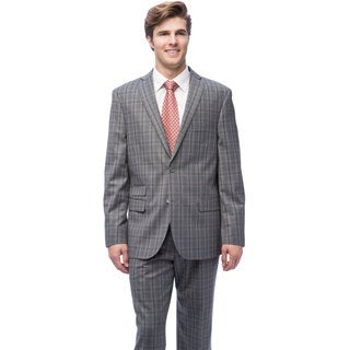 Caravelli Men's Light Grey Polyester/Viscose Notch Collar 2-button Plaid Suit