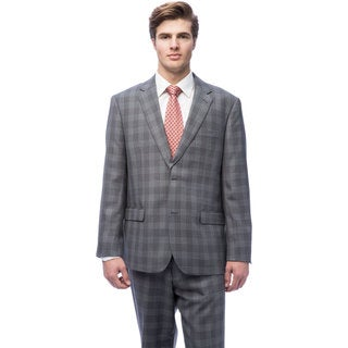 Caravelli Men's Grey 2-button Plaid Suit