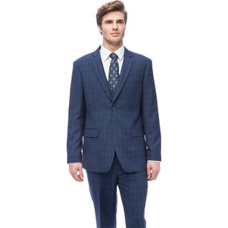 Caravelli Men's Slim Fit Blue Windowpane Vested Suit