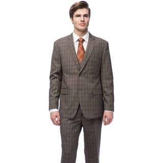 Caravelli Men's Brown Windowpane Vested Slim Fit Suit