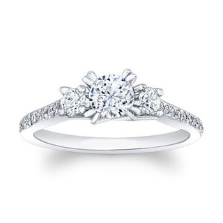 Matthew Ryan 14k White Gold 7/8ct TDW Diamond Round Engagement Ring