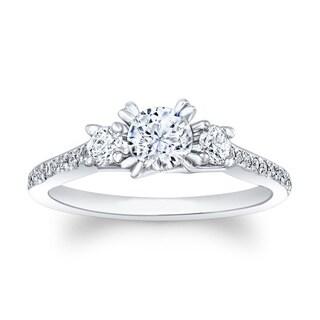 Matthew Ryan 14k White Gold 7/8ct TDW Diamond Round Engagement Ring