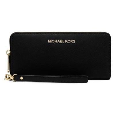 2502c7e7144a6f Shop Michael Kors Jet Set Black Travel Continental Wallet - Ships To ...