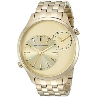 Armani Exchange Men's AX2176 'Hampton' Dual Time Gold-Tone Stainless Steel Watch