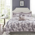 Madison Park Essentials Abbey Grey Complete Coverlet and Cotton Sheet Set