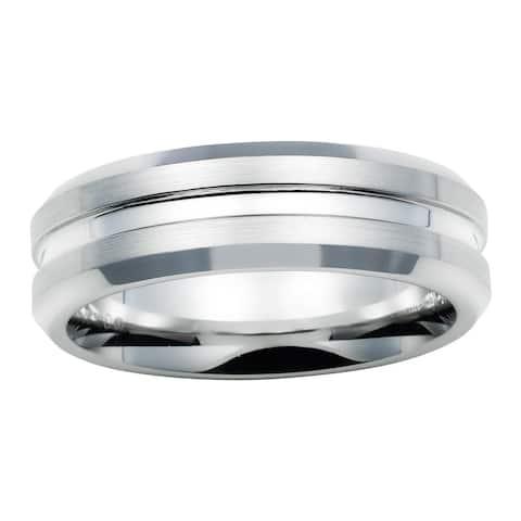 Boston Bay Diamonds Men's 7MM Comfort Fit Cobalt Chrome Wedding Band Ring w/ Center Channel Accent