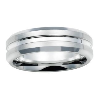 Boston Bay Diamonds Men's 7MM Comfort Fit Cobalt Chrome Wedding Band Ring w/ Center Channel Accent - White