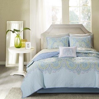 Madison Park Essentials Carly Aqua Complete Coverlet and Cotton Sheet Set