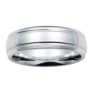 Boston Bay Diamonds Men's 7MM Comfort Fit Cobalt Chrome Wedding Band Ring w/ Raised Center - White