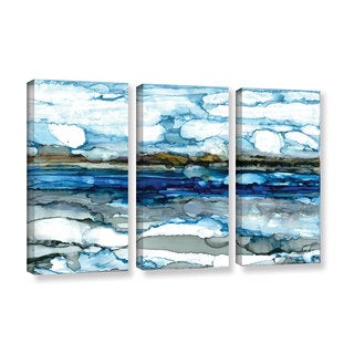 ArtWall Norman Wyatt JR's 'Silver Coast'  3-piece Gallery Wrapped Canvas Set