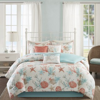 Madison Park Pacific Grove Coral Cotton Comforter Set