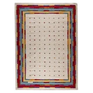 M.A.Trading Hand-Woven Indo Khema6 White/ Multi Rug (5'6 x 7'10)