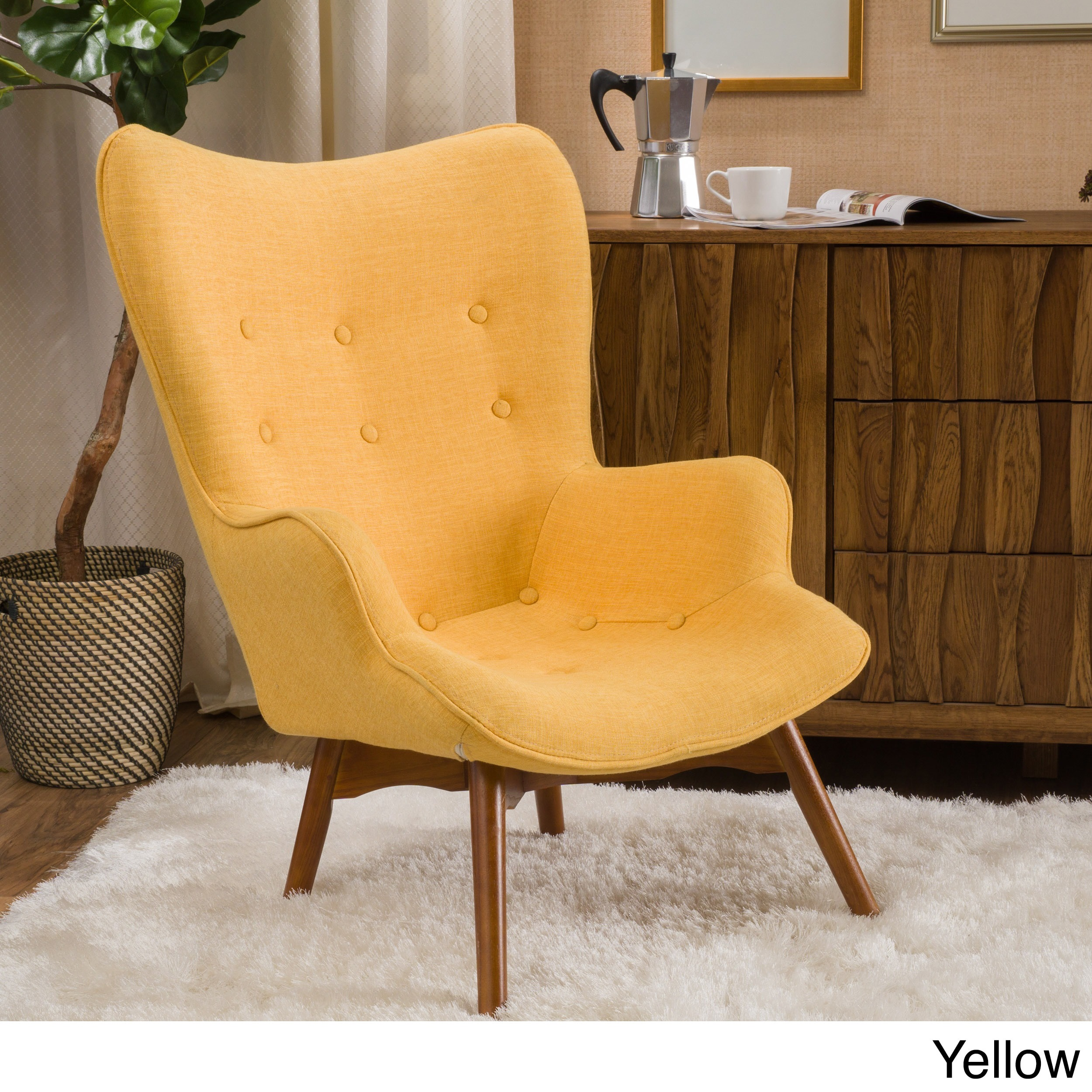 Hariata Fabric Contour Chair By Christopher Knight Home (Option: Yellow)