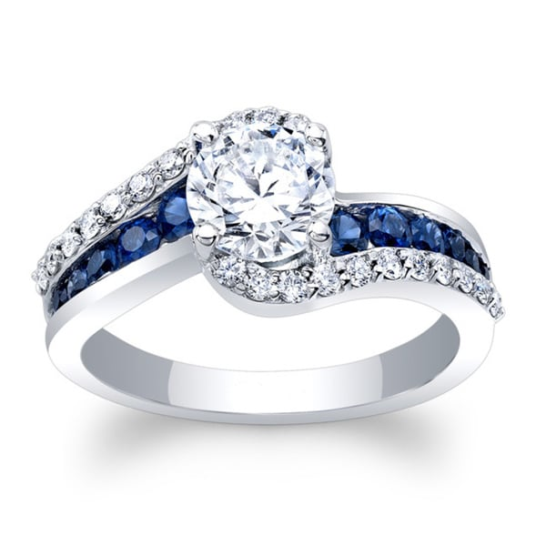 Barkev's 14k White Gold 1 1/4ct TDW Round-cut Diamond and Blue Sapphire Engagement Ring