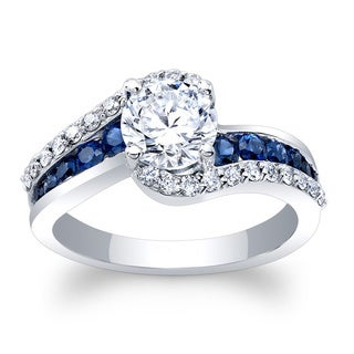 Barkev's 14k White Gold 1 1/4ct TDW Round-cut Diamond and Blue Sapphire Engagement Ring (F-G, SI1-SI2)