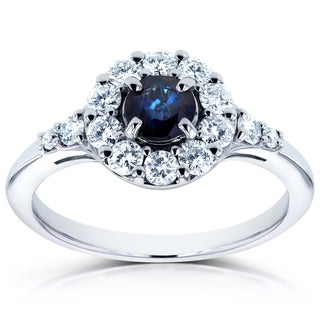 Annello by Kobelli 14k White Gold Sapphire and 1/2ct TDW Diamond Halo Ring (H-I, I1-I2)
