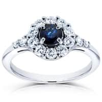 Annello by Kobelli 14k White Gold Sapphire and 1/2ct TDW Diamond Halo Ring (H-I, I1-I2)
