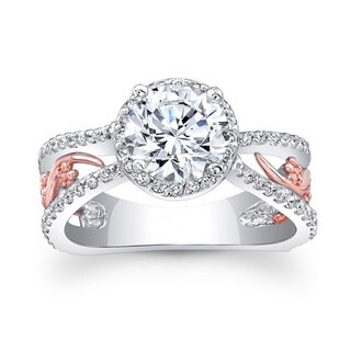 Barkev's Designer Round Cut Diamond Engagement Ring in 14KT White and Rose Gold