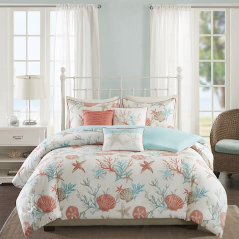 Madison Park Pacific Grove Coral Cotton Duvet Cover Set