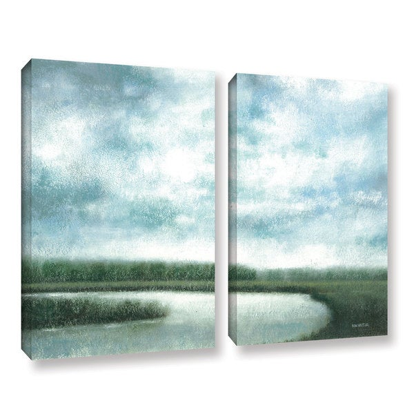 ArtWall Norman Wyatt JR's 'Cloudy Day Marsh'  2-piece Gallery Wrapped Canvas Set