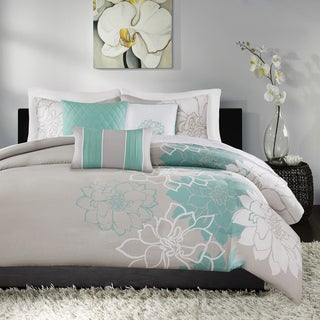 Madison Park Brianna Aqua Cotton Duvet Cover Set