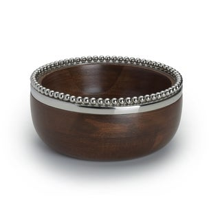Wooden Bowl With Metal Beaded Rim