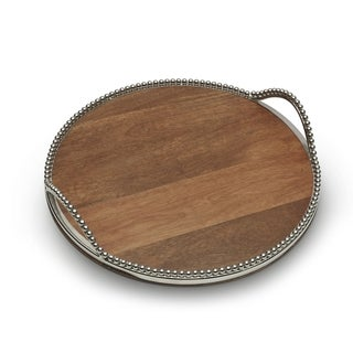 Round Wooden Platter with Metal Beaded Rim and Handles