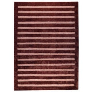 M.A. Trading Hand-knotted Indo Chicago Brown Rug (5'6 x 7'10)