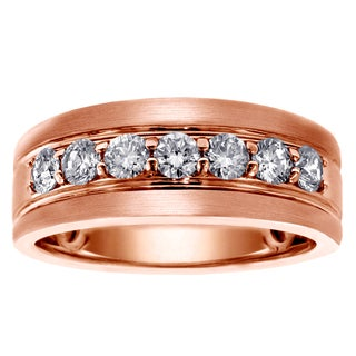 14k Rose Gold Men's 1ct TDW Brilliant-cut Diamond Ring