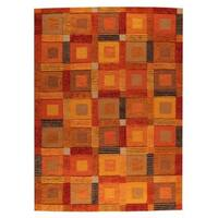 M.A.Trading Hand-Woven Indo Big Box Orange Rug (6'6 x 9'9)