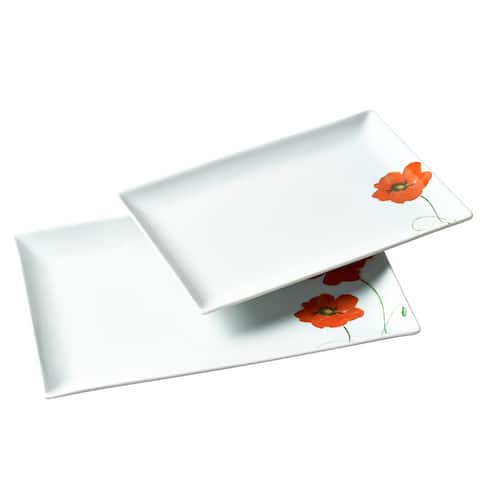 2pc Poppy Rectangular Porcelain Serving Tray Set