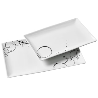 2pc Pescara Rectangular Porcelain Serving Tray Set