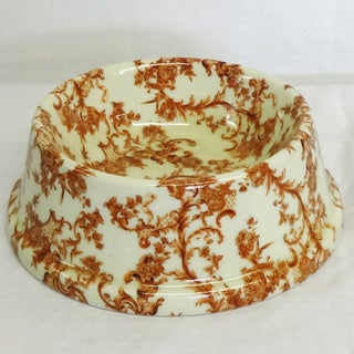 Amber Trellis Porcelain Dog Bowl