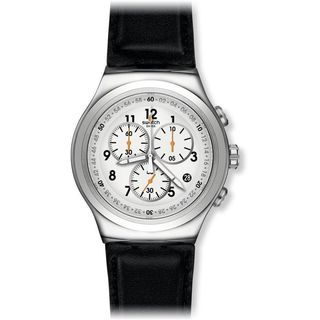 Swatch Men's YOS451 'Chrono L'Imposante' Chronograph Black Leather Watch