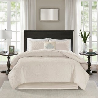 Madison Park Mansfield Quilted Ivory Comforter Set