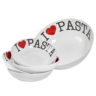 I Love Pasta Porcelain 5-piece Round Pasta Set