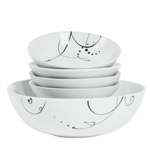 Pescara 5-piece Porcelain Round Pasta Set