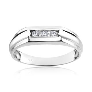 Andrew Charles 14k White Gold Men's 1/8ct TDW Diamond Ring (H-I, SI1-SI2)