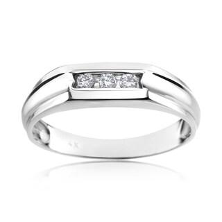SummerRose 14k White Gold Men's 1/8ct TDW Diamond Ring