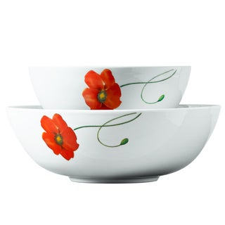 2pc Poppy Porcelain Round Serving Set
