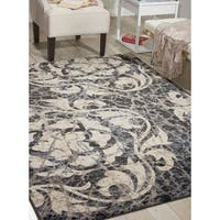 Nourison Maxell Ivory/Charcoal Rug (5'3 x 7'3)