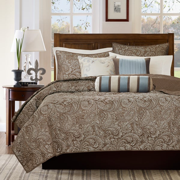 Great Madison Park Whitman Blue Quilted Coverlet Set