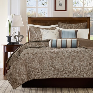 Madison Park Whitman Blue Quilted Coverlet Set