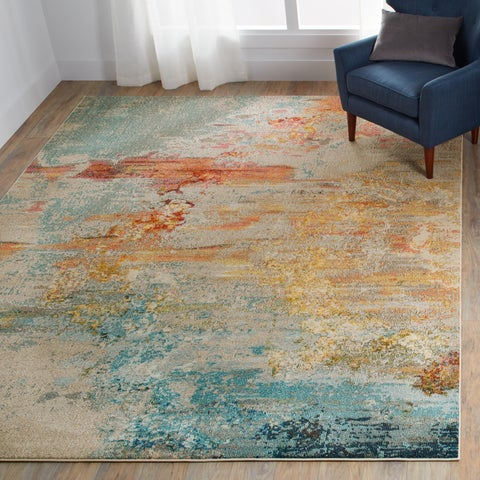 The Curated Nomad Elsie Coastal Abstract Rug - 5'3 x 7'3