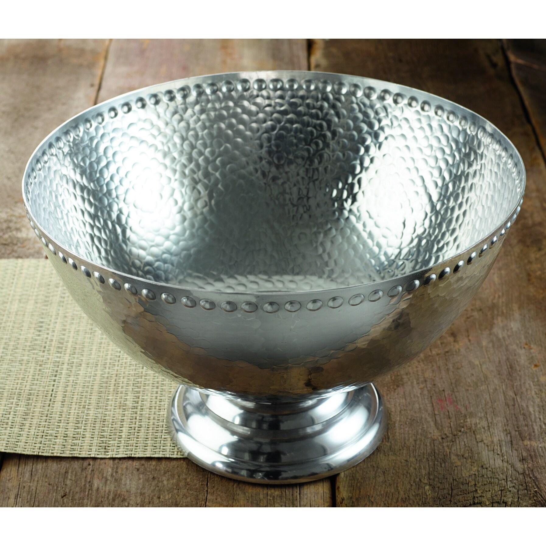 """KINDWER 17-inch Hammered Aluminum Pedestal Punchbowl (17""""..."""